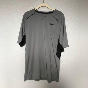 EUC Nike Dri-Fit Grey Black Short Sleeve Shirt M